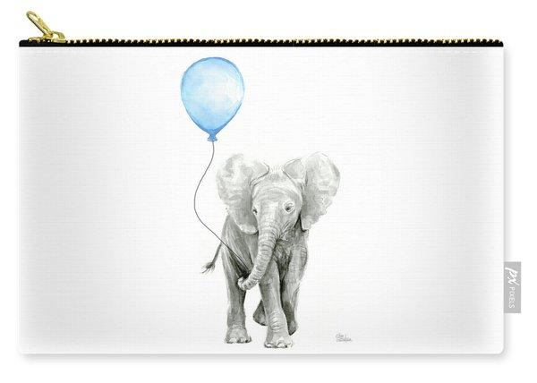 Elephant Watercolor Blue Nursery Art Carry-all Pouch
