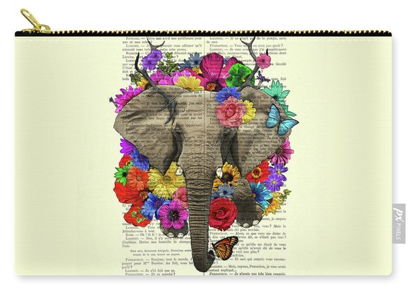Elephant With Colorful Flowers Illustration Carry-all Pouch