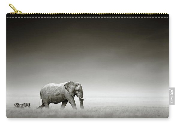 Elephant With Zebra Carry-all Pouch