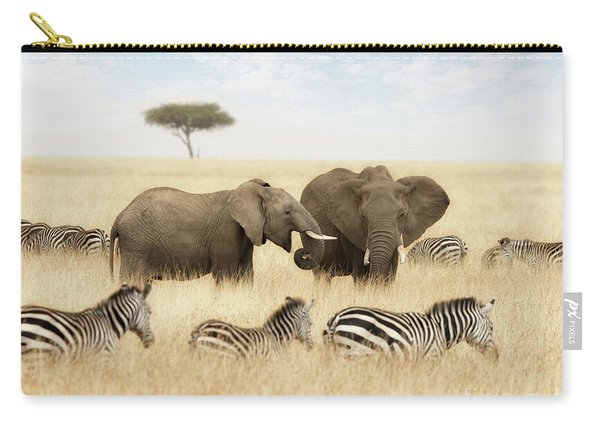 Elephants And Zebras In The Grasslands Of The Masai Mara Carry-all Pouch