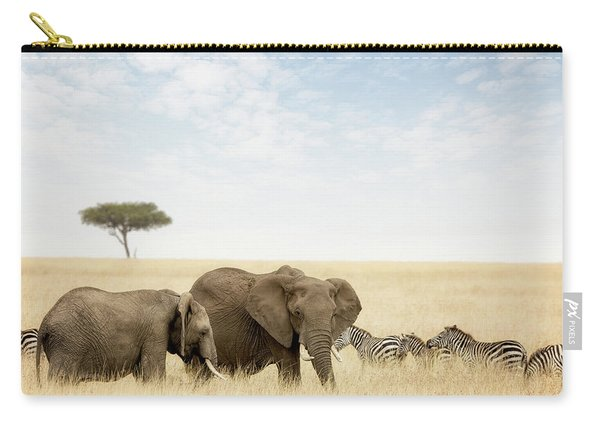 Elephants And Zebras In The Masai Mara Carry-all Pouch