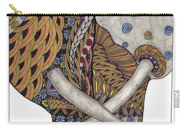 Carry-all Pouch featuring the drawing Love by Barbara McConoughey