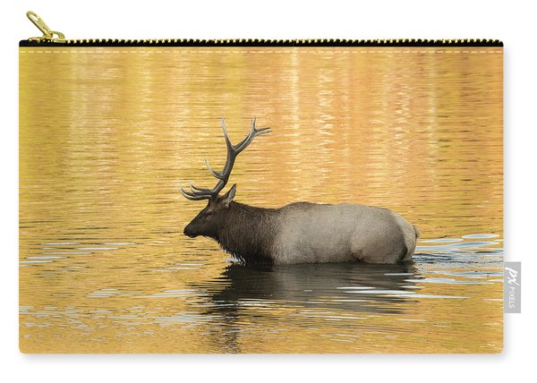 Elk In Golden River Carry-all Pouch