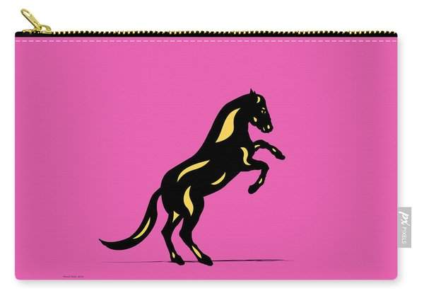 Emma II - Pop Art Horse - Black, Primrose Yellow, Pink Carry-all Pouch