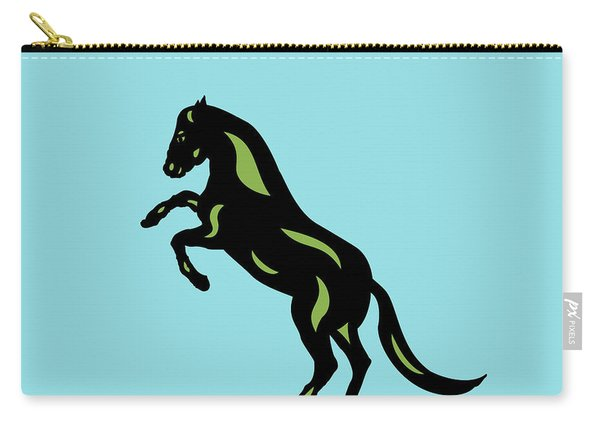 Emma - Pop Art Horse - Black, Greenery, Island Paradise Blue Carry-all Pouch