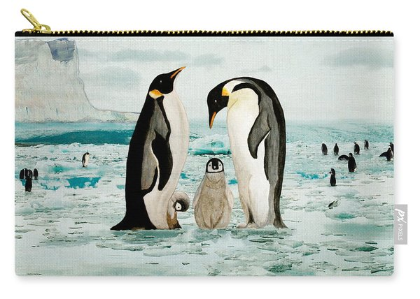 Carry-all Pouch featuring the painting Emperor Penguin Family by Angeles M Pomata