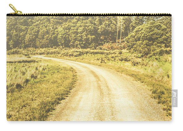 Empty Curved Gravel Road In Tasmania, Australia Carry-all Pouch