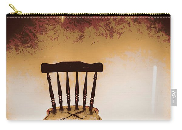 Empty Wooden Chair With Cross Sign Carry-all Pouch