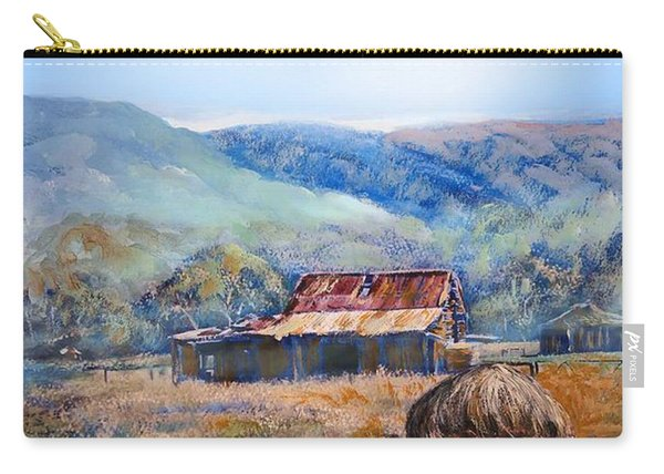 Carry-all Pouch featuring the painting Emu And Chicks, Australian Landscape by Ryn Shell