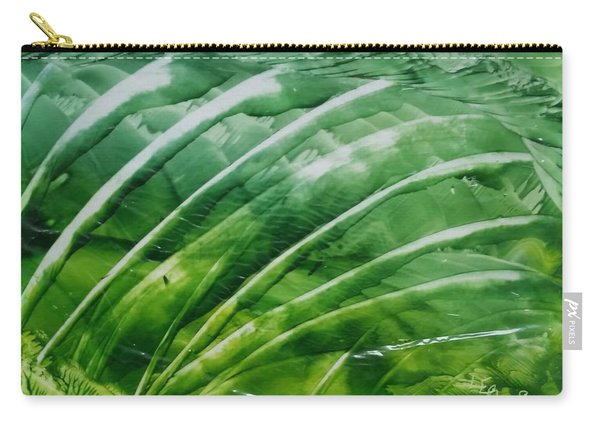 Encaustic Abstract Green Fan Foliage Carry-all Pouch