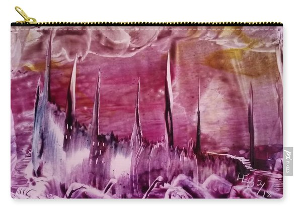 Encaustic Purple-pink Abstract Castles Carry-all Pouch