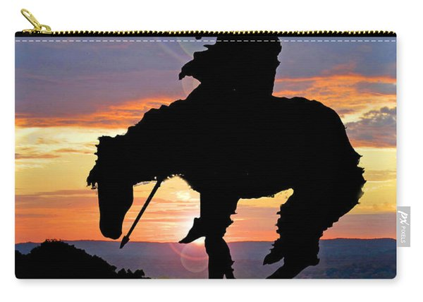 End Of The Trail Sculpture In A Sunset Carry-all Pouch