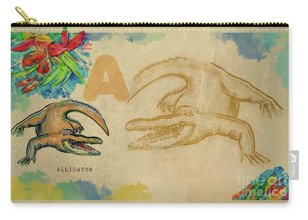 Carry-all Pouch featuring the drawing English Alphabet , Alligator  by Ariadna De Raadt