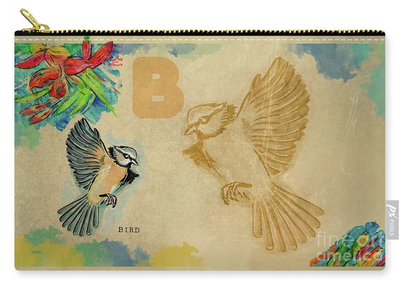 Carry-all Pouch featuring the drawing English Alphabet , Bird by Ariadna De Raadt