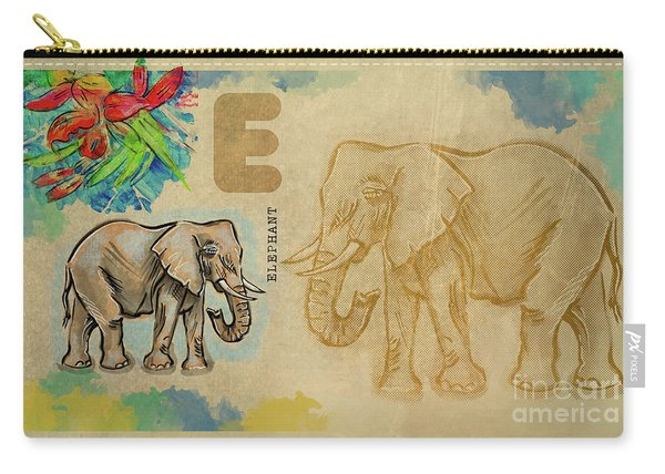 Carry-all Pouch featuring the drawing English Alphabet , Elephant by Ariadna De Raadt