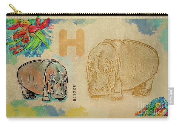 Carry-all Pouch featuring the drawing English Alphabet ,  Hippos by Ariadna De Raadt
