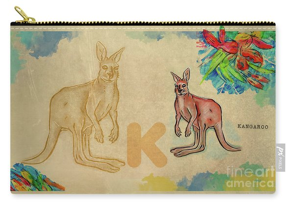 Carry-all Pouch featuring the drawing English Alphabet , Kangaroo by Ariadna De Raadt