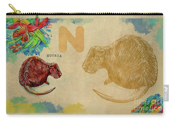 Carry-all Pouch featuring the drawing English Alphabet , Nutria by Ariadna De Raadt