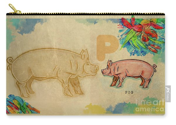 Carry-all Pouch featuring the drawing English Alphabet , Pig by Ariadna De Raadt