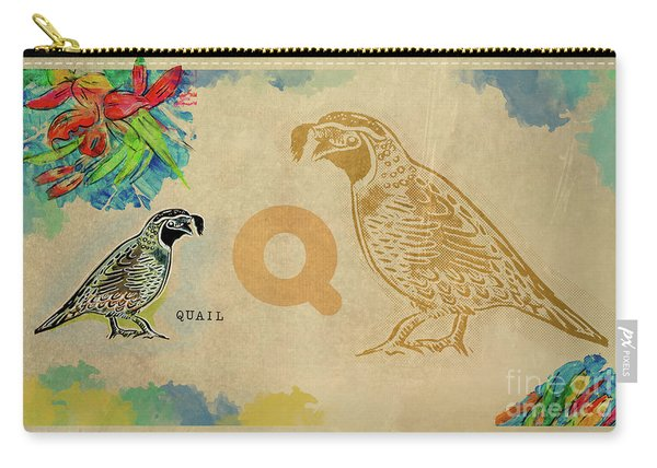 Carry-all Pouch featuring the drawing English Alphabet , Quail by Ariadna De Raadt