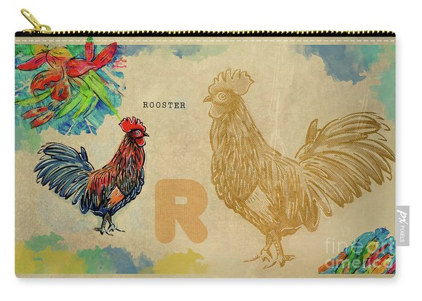 Carry-all Pouch featuring the drawing English Alphabet , Rooster  by Ariadna De Raadt