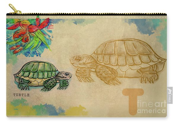 Carry-all Pouch featuring the drawing English Alphabet , Turtle  by Ariadna De Raadt