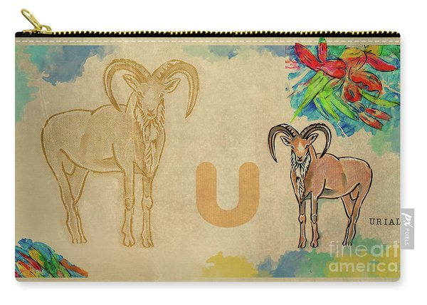 Carry-all Pouch featuring the drawing English Alphabet , Urial  by Ariadna De Raadt