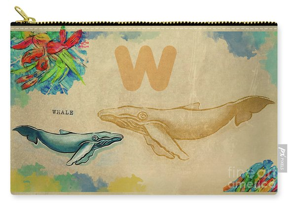 Carry-all Pouch featuring the drawing English Alphabet , Whale by Ariadna De Raadt