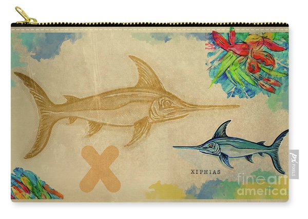 Carry-all Pouch featuring the drawing English Alphabet , Xiphias  by Ariadna De Raadt