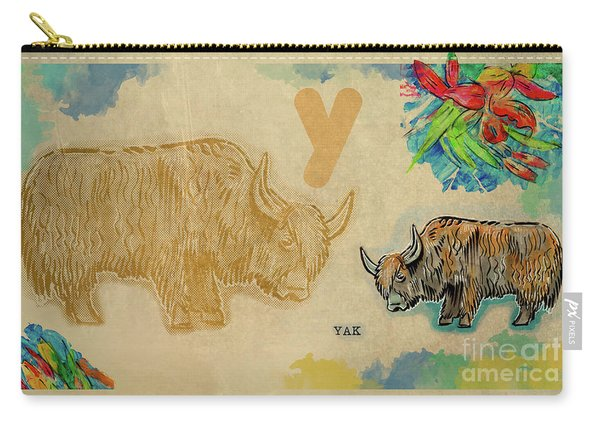 Carry-all Pouch featuring the drawing English Alphabet , Yak  by Ariadna De Raadt