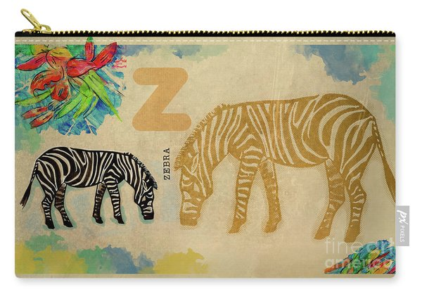 Carry-all Pouch featuring the drawing English Alphabet , Zebra by Ariadna De Raadt