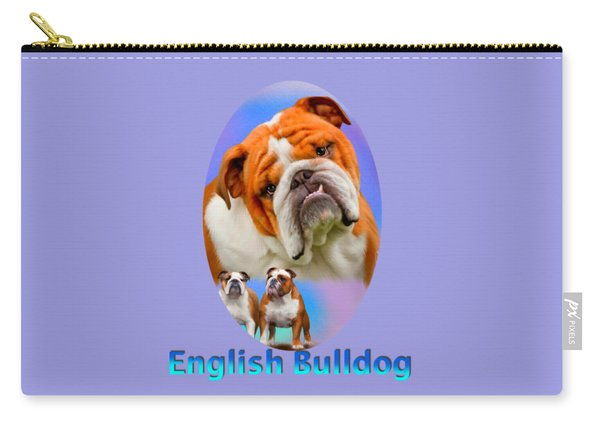 English Bulldog With Border Carry-all Pouch