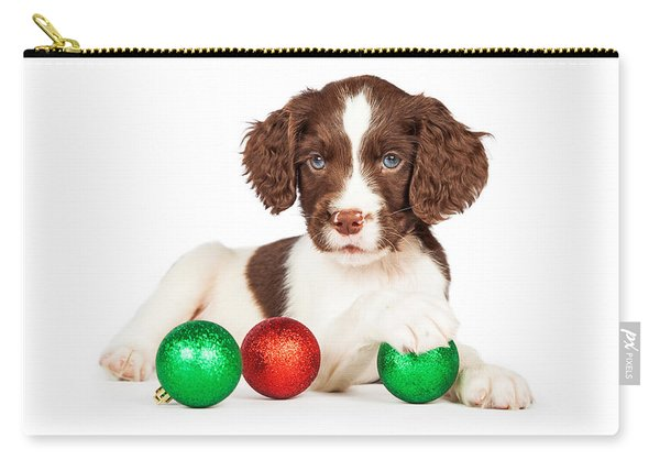 English Springer Spaniel Puppy With Christmas Baubles Carry-all Pouch