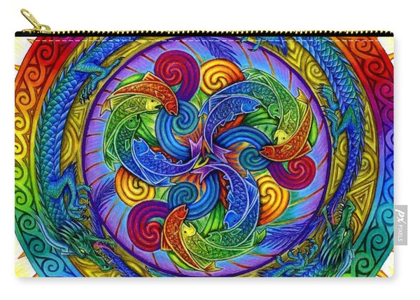 Psychedelic Dragons Rainbow Mandala Carry-all Pouch