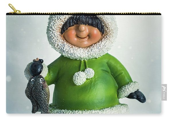Eskimo Figure In Snow Carry-all Pouch