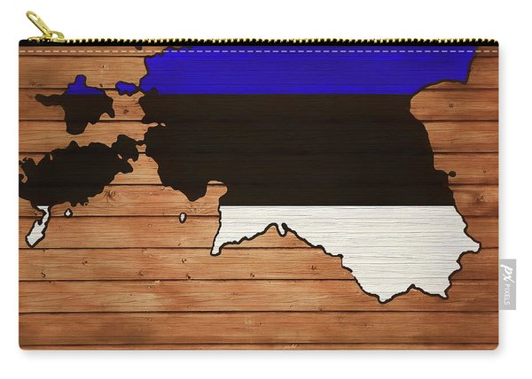 Estonia Rustic Map On Wood Carry-all Pouch