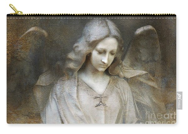 Ethereal Spiritual Stone Textured Angel In Prayer Carry-all Pouch