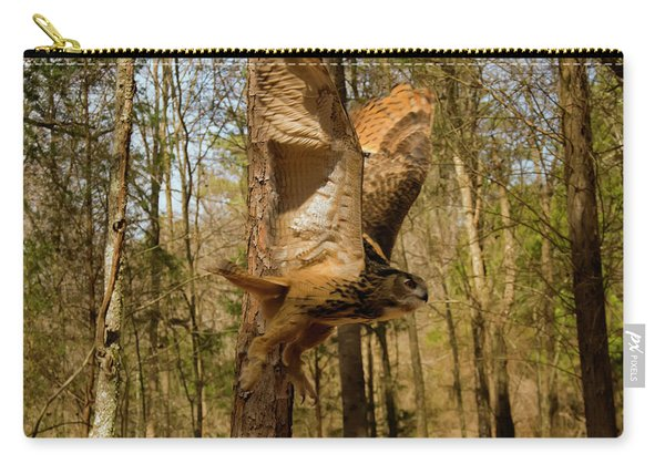 Eurasian Eagle Owl In Flight Carry-all Pouch