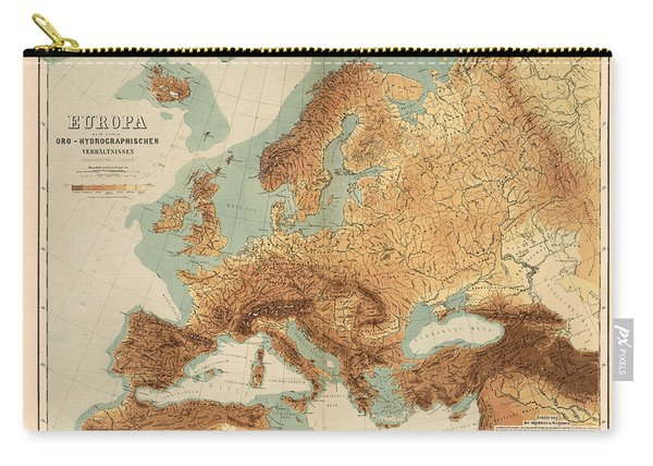 Europe - Geological Map Showing Land And Water Resources - Historical Map - Antique Relief Map Carry-all Pouch