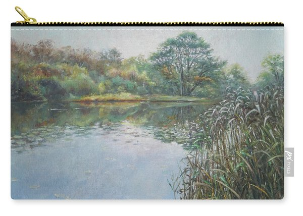 Carry-all Pouch featuring the painting Evening At Southampton Common Lake by Martin Davey