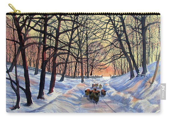 Evening Glow On A Winter Lane Carry-all Pouch