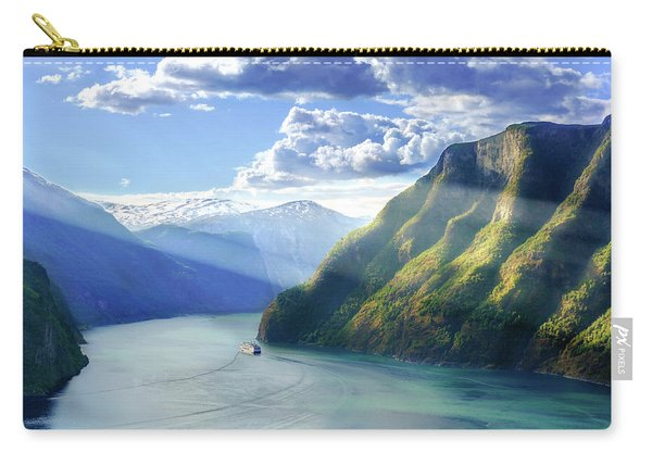 Carry-all Pouch featuring the photograph Evening Over Geirangerfjord by Dmytro Korol