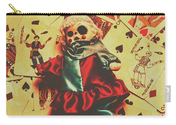 Evil Clown Doll On Playing Cards Carry-all Pouch