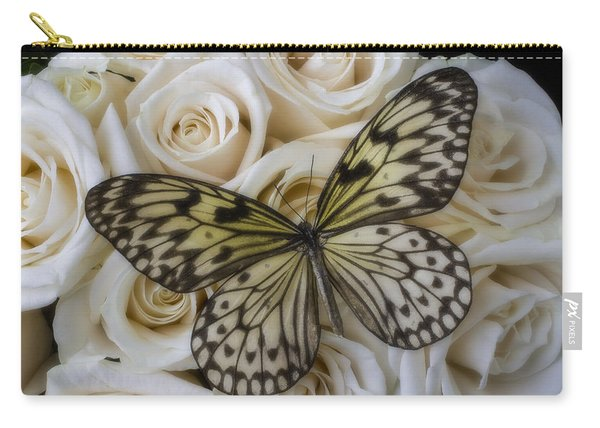 Exotic Butterfly On White Roses Carry-all Pouch