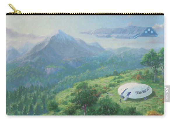 Carry-all Pouch featuring the digital art Exploring New Landscape Spaceship by Martin Davey