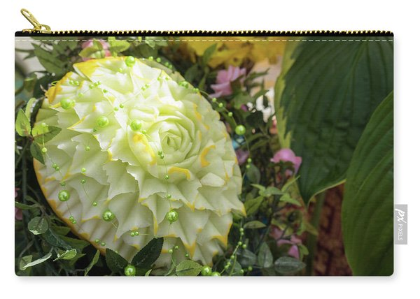 Extravagant Jeweled Dishes - Carved Melon Flower With Green Pearls Carry-all Pouch