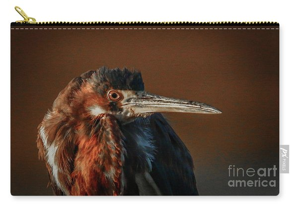 Carry-all Pouch featuring the photograph Eye To Eye With Heron by Tom Claud