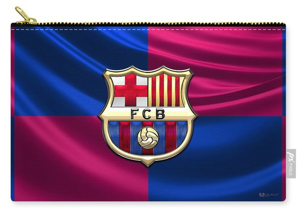 F. C. Barcelona - 3d Badge Over Flag Carry-all Pouch