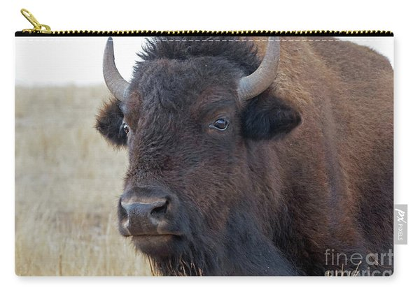 Carry-all Pouch featuring the photograph Face Of A Bison by Bill Gabbert