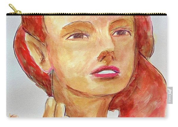 Carry-all Pouch featuring the painting Fairy Face by Loretta Nash